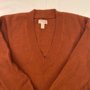Forever 21 sweater v neck burnt orange M